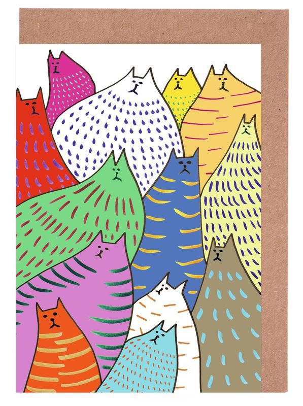 Cats Lots 2 Greeting Card Set