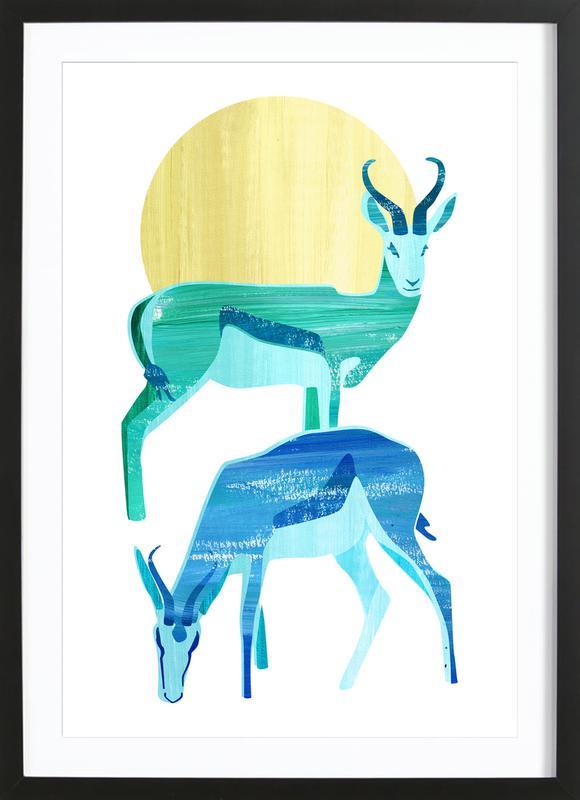 Antilopes in the sun -Bild mit Holzrahmen