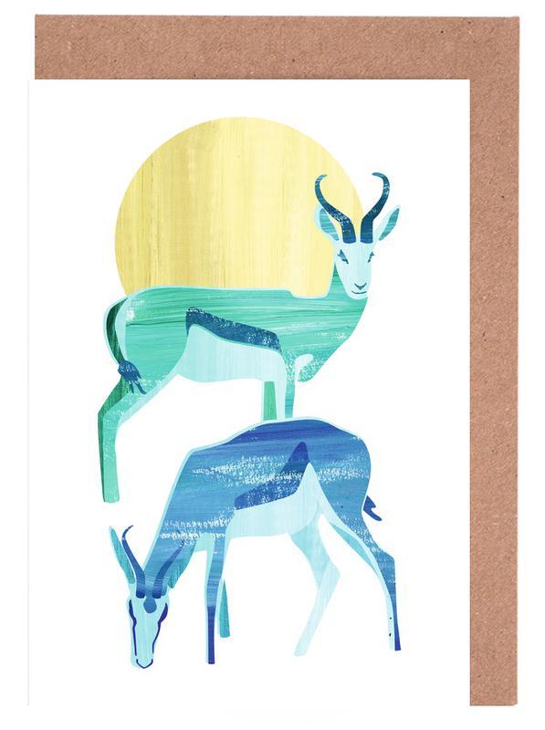 Antilopes in the sun -Grußkarten-Set