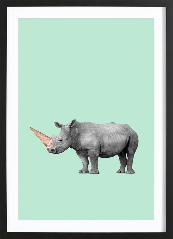 Ice Cream Rhino -Bild mit Holzrahmen