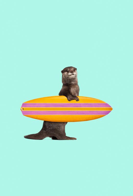 Surfing Otter Aluminium Print