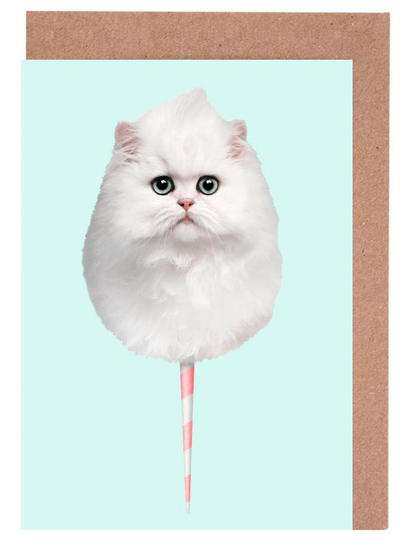 Cotton Candy Cat Greeting Card Set