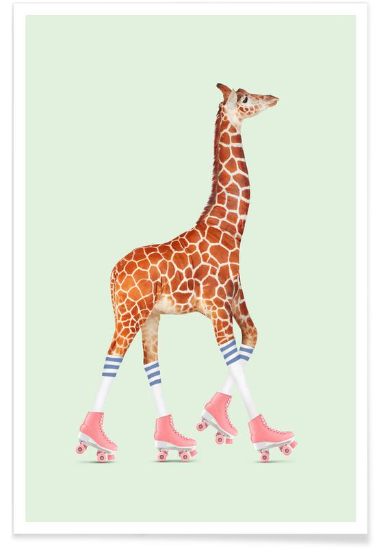 Rollerskating Giraffe -Poster