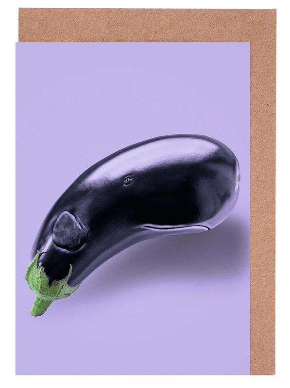 Eggplant Whale Greeting Card Set