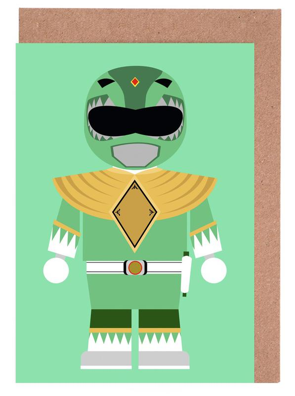 Power Ranger Toy Green Greeting Card Set
