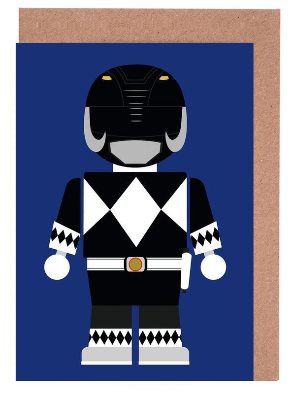 Power Ranger Toy Black Greeting Card Set