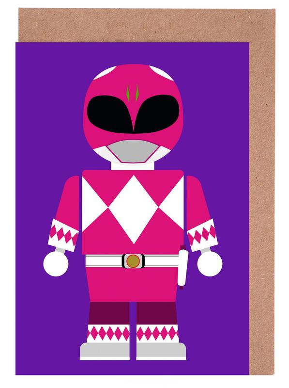 Power Ranger Toy Pink Greeting Card Set