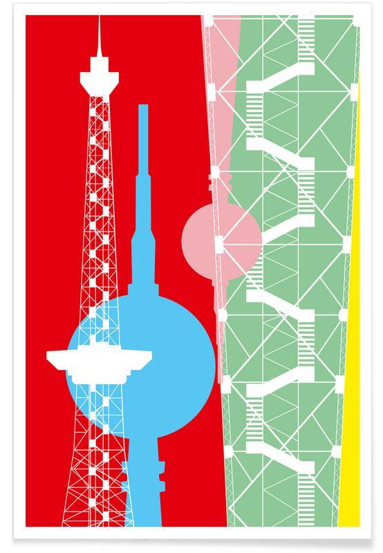 Berliner Fernsehturm + Funkturm -Poster