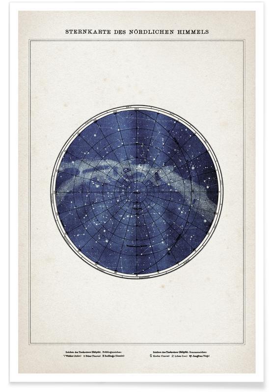 Sternenkarte Norden - Brockhaus poster