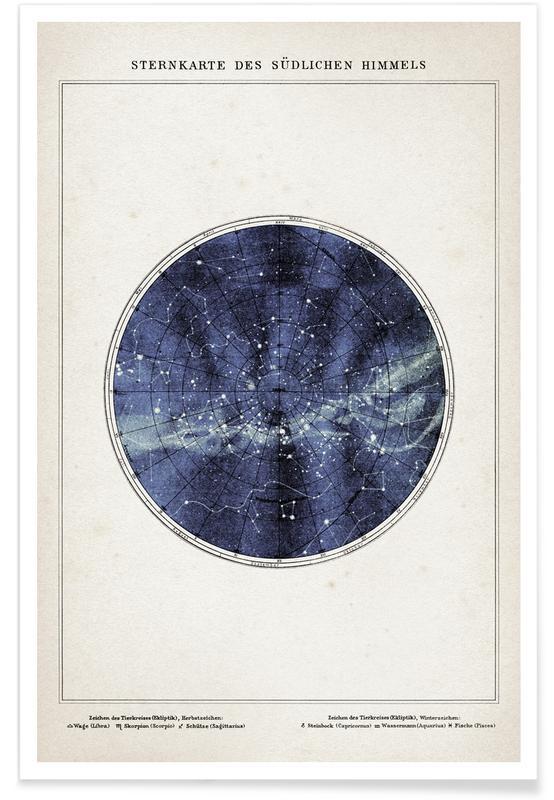 Sternenkarte Süden - Brockhaus Poster