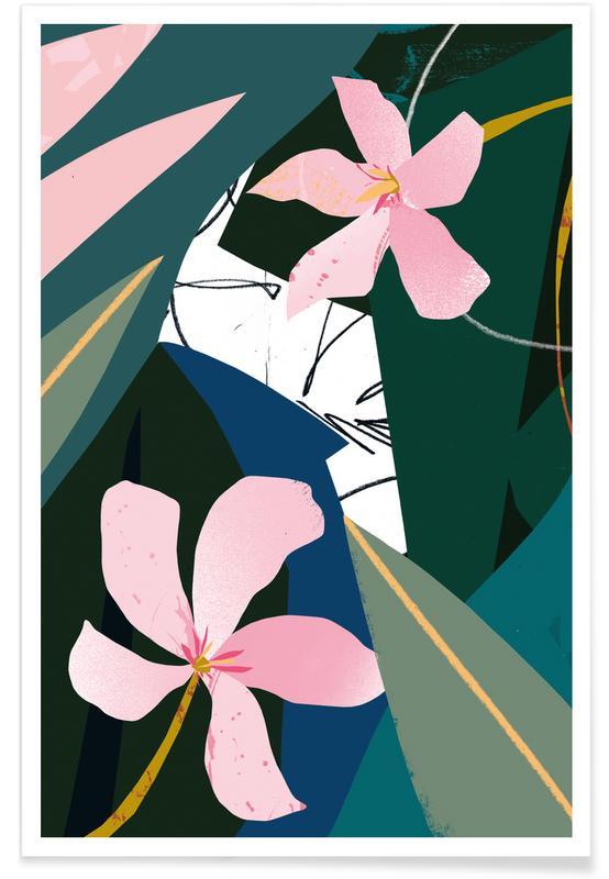 Illustration de laurier-rose affiche