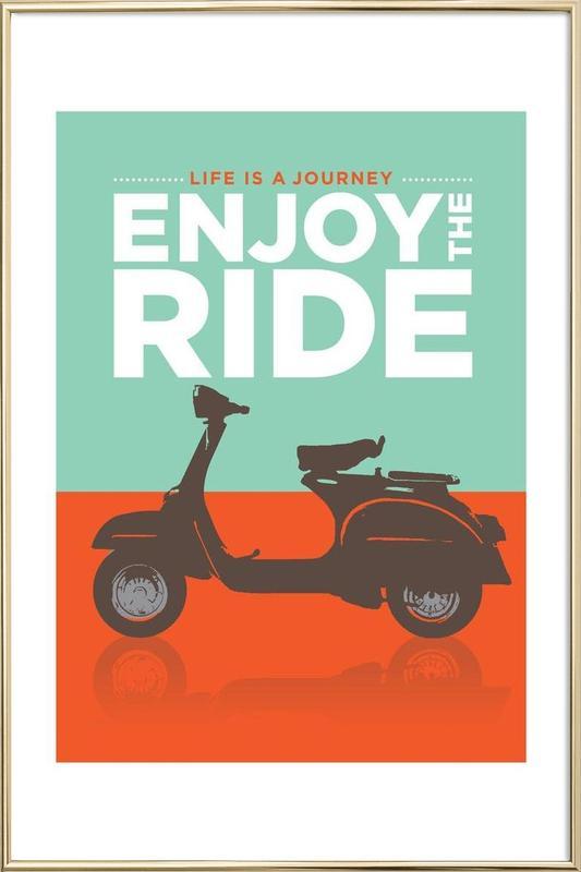 Enjoy the ride - Vespa Poster in Aluminium Frame