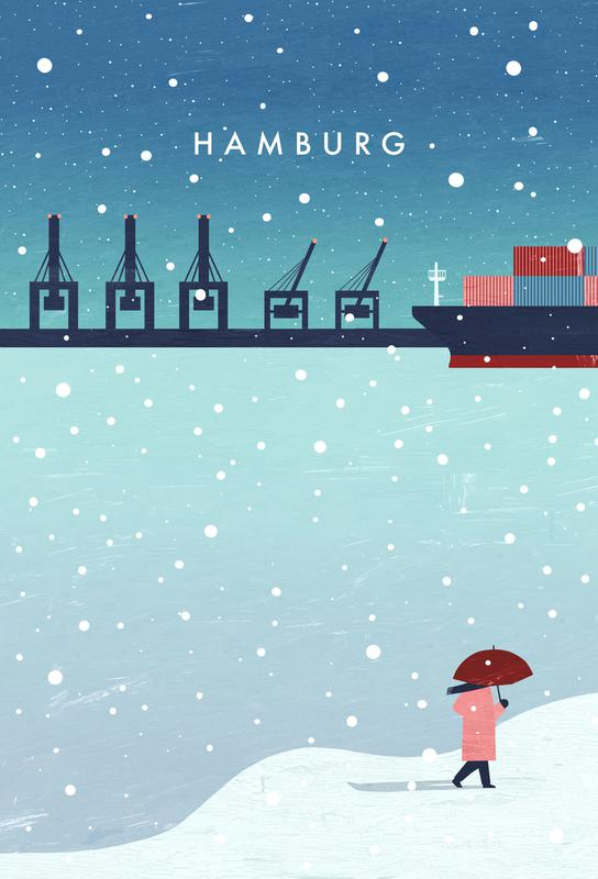 Hamburg Im Winter -Alubild