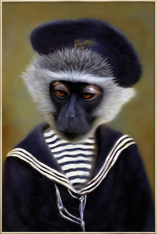 The Sad Monkey Poster in Aluminium Frame