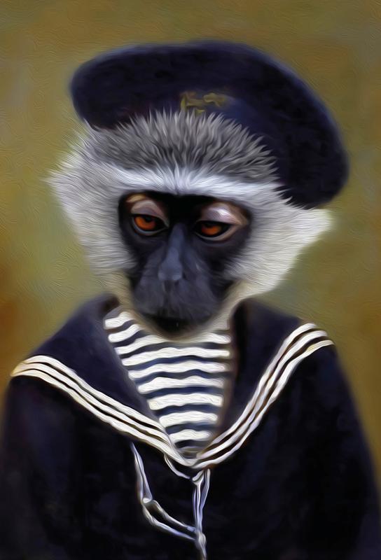 The Sad Monkey tableau en verre