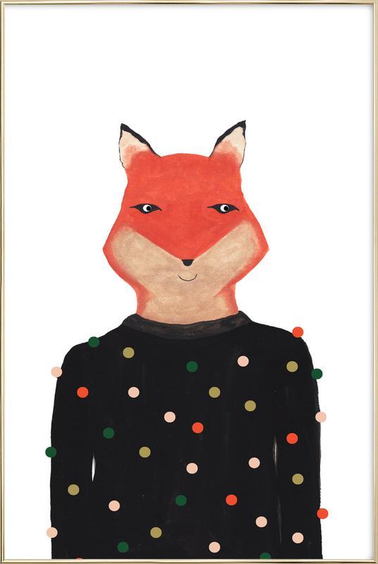Fox with Sweater poster in aluminium lijst