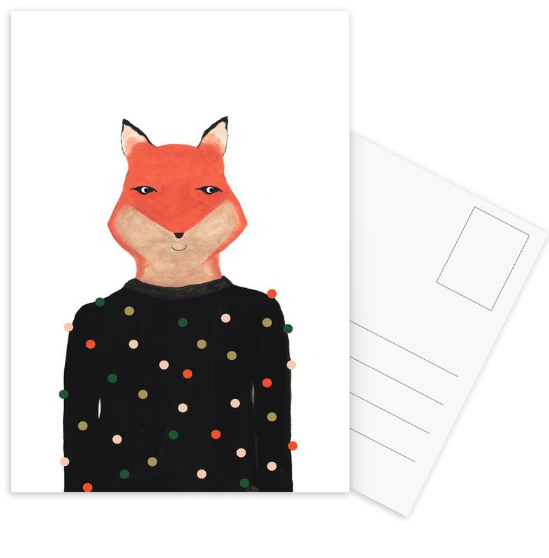 Fox with Sweater cartes postales