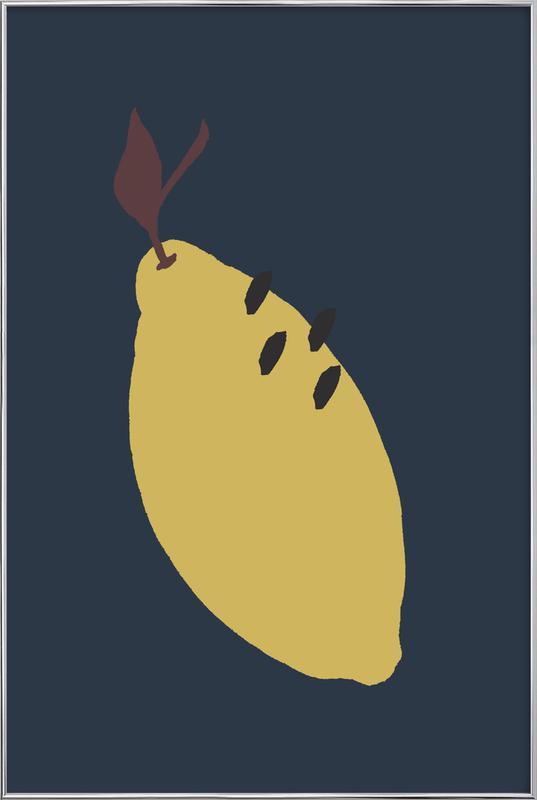 Joyful Fruits - Lemon Poster in Aluminium Frame
