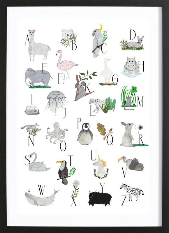 Animals with Letters Framed Print
