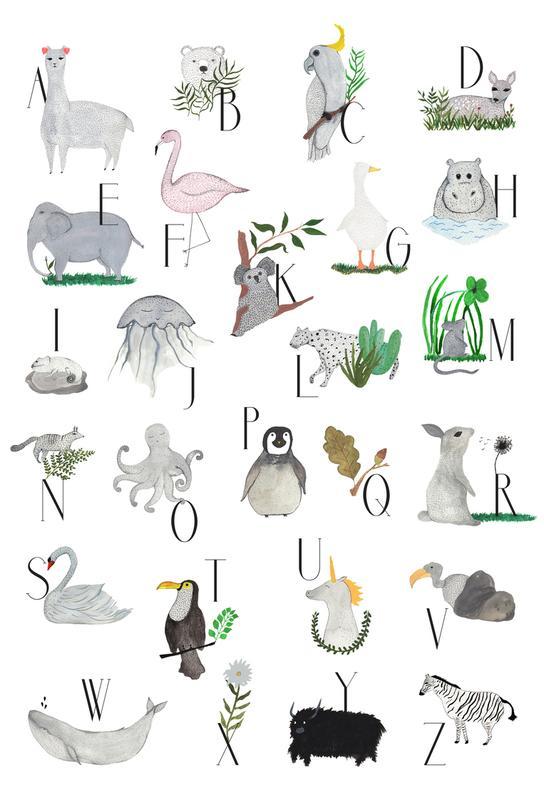 Animals with Letters Impression sur alu-Dibond