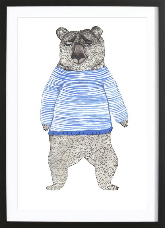 Bear with Stripes -Bild mit Holzrahmen