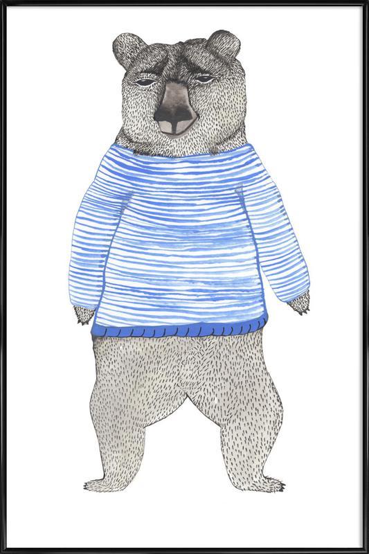 Bear with Stripes Framed Poster