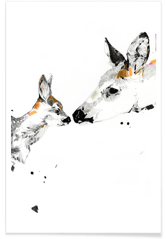 Kussende herten - aquarel poster
