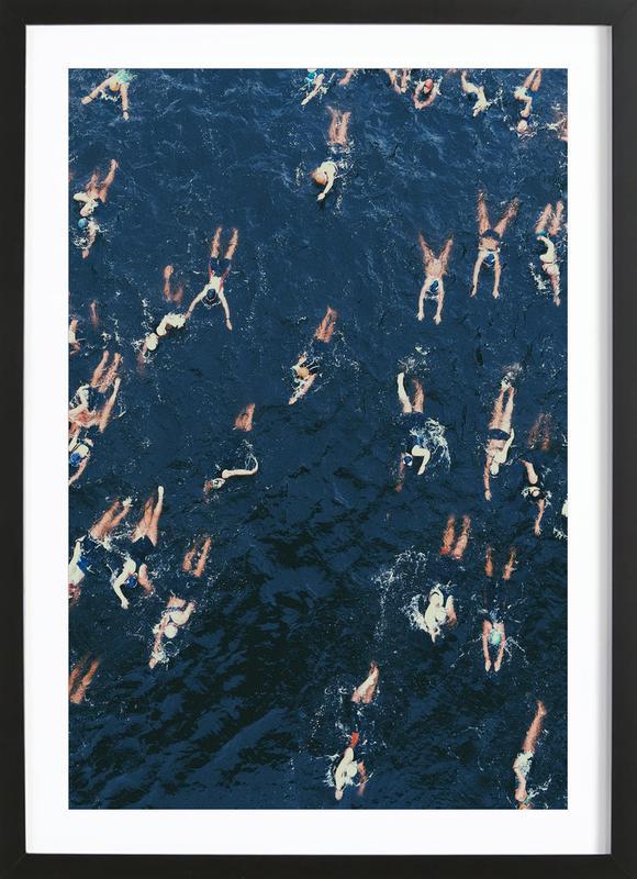 Swimming affiche sous cadre en bois