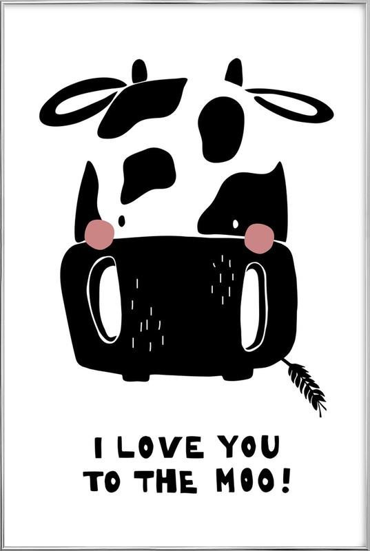 I Love You To The Moo. Poster in Aluminium Frame