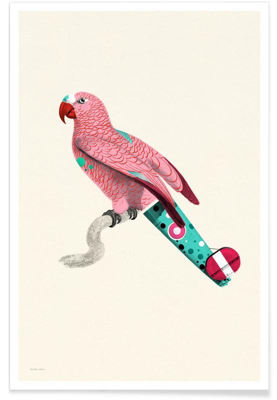 Pastel Pink Parrot -Poster