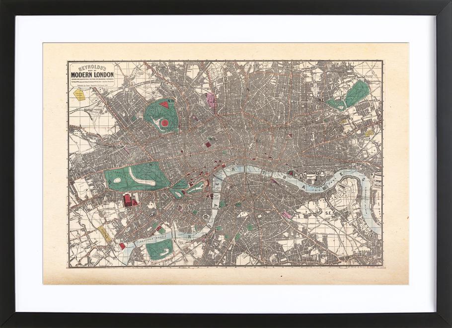 Pocket Map Of London, England -Bild mit Holzrahmen
