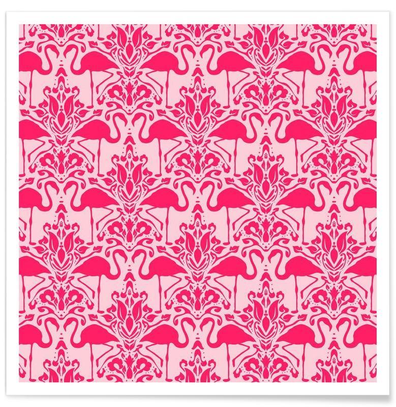 Flamingo Damask - pink Poster