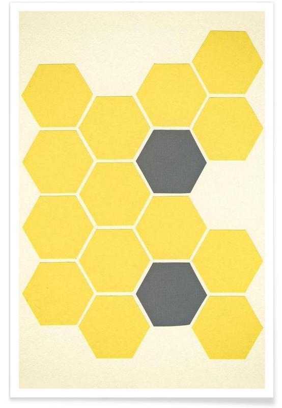 Yellow honeycomb poster