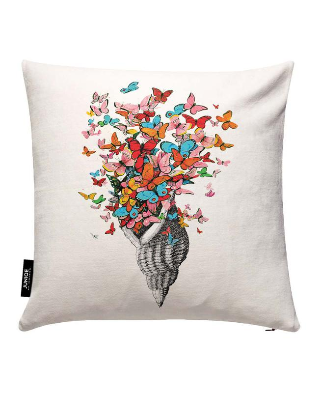 Seashell with butterflies Cushion Cover