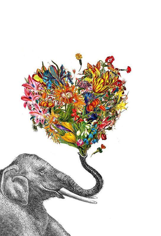 The Happy Elephant Aluminium Print