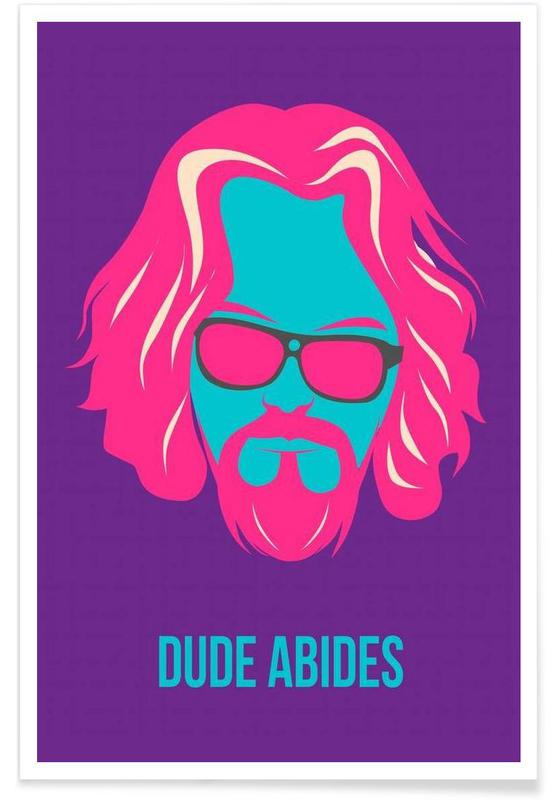 Dude Abides Purple Poster -Poster
