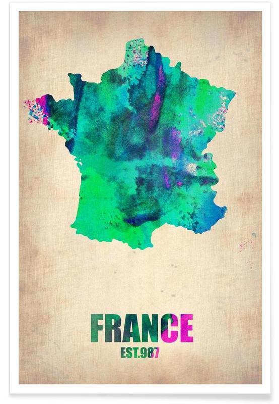 France - Carte en aquarelle affiche