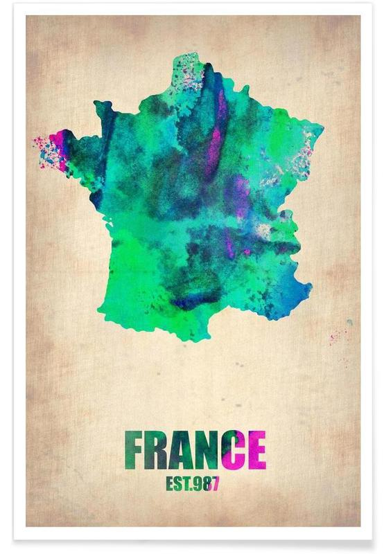 France Watercolor Map Poster