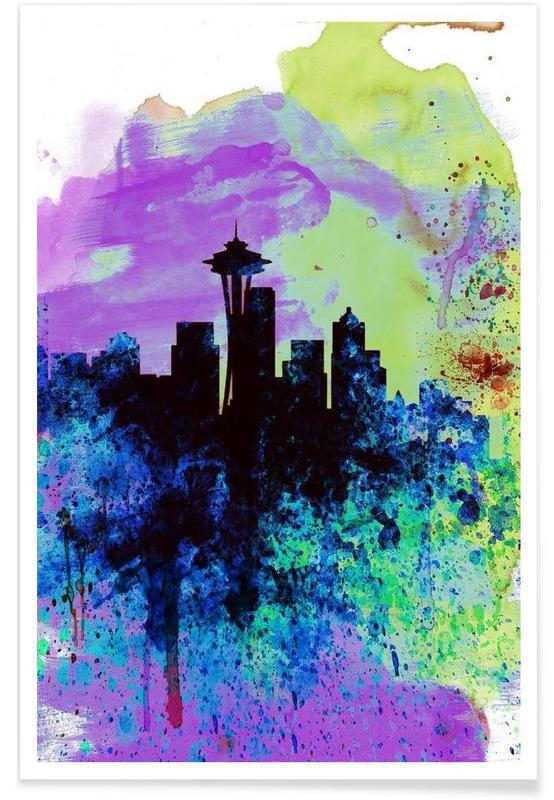 Seattle Watercolor Skyline 1 -Poster