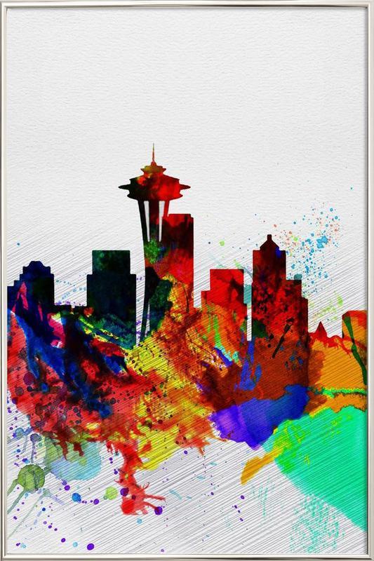 Seattle Watercolor Skyline 2 Poster in Aluminium Frame