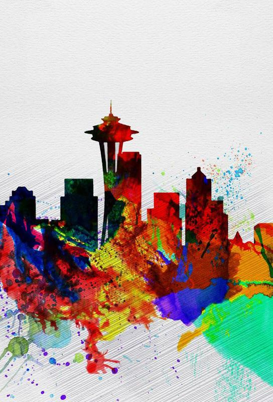 Seattle Watercolor Skyline 2 Aluminium Print