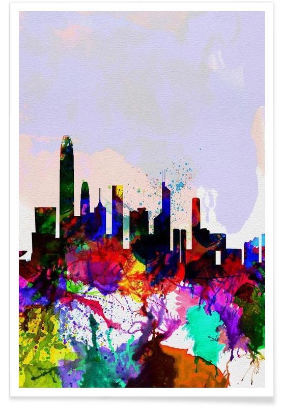 Hong Kong Watercolor Skyline Poster
