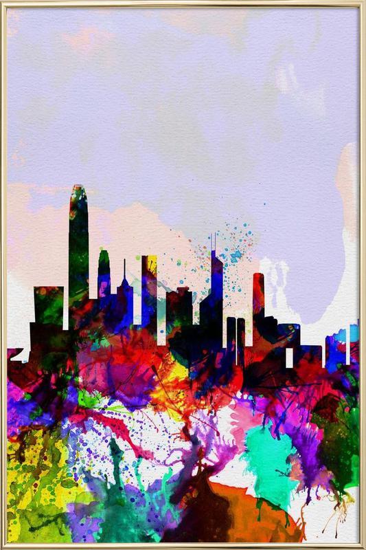 Hong Kong Watercolor Skyline poster in aluminium lijst