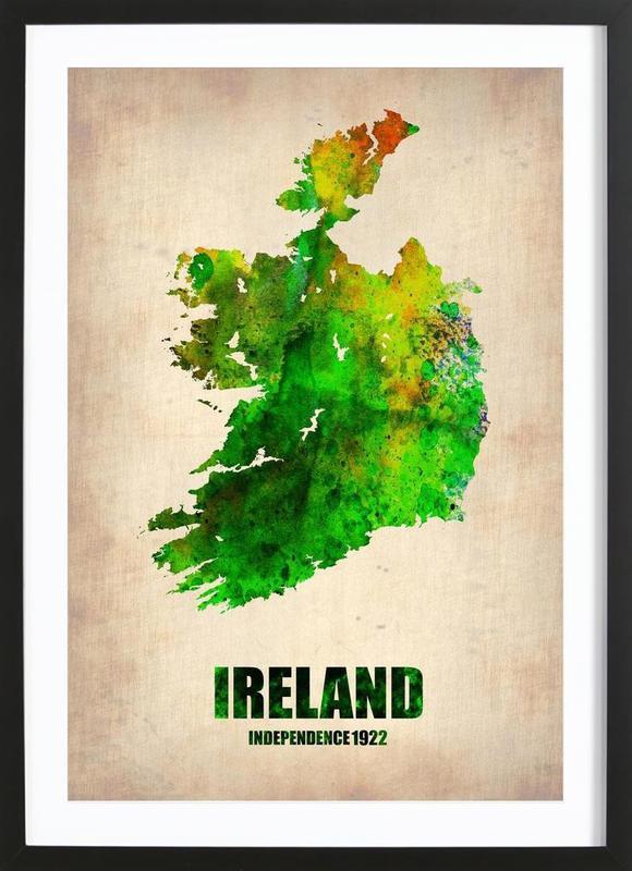 Ireland Watercolor Map ingelijste print