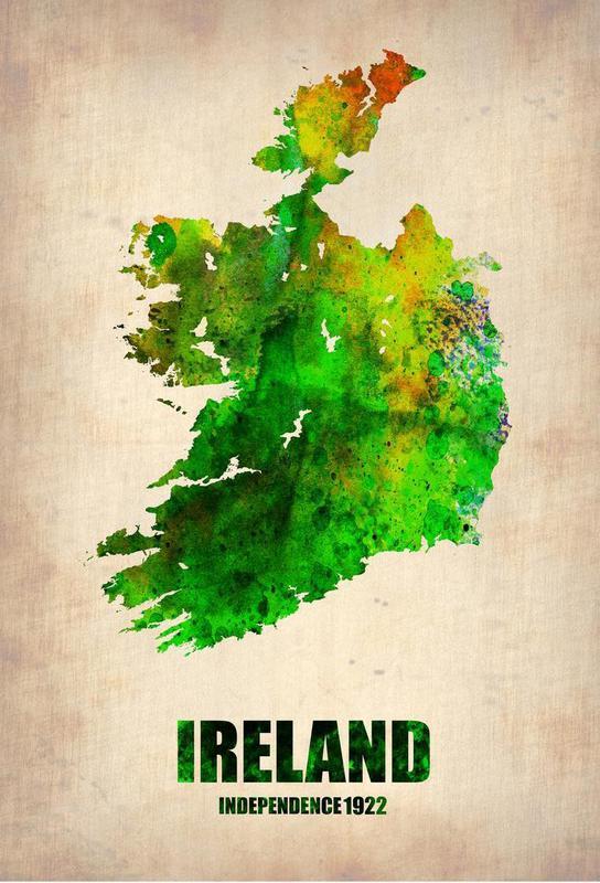 Ireland Watercolor Map acrylglas print
