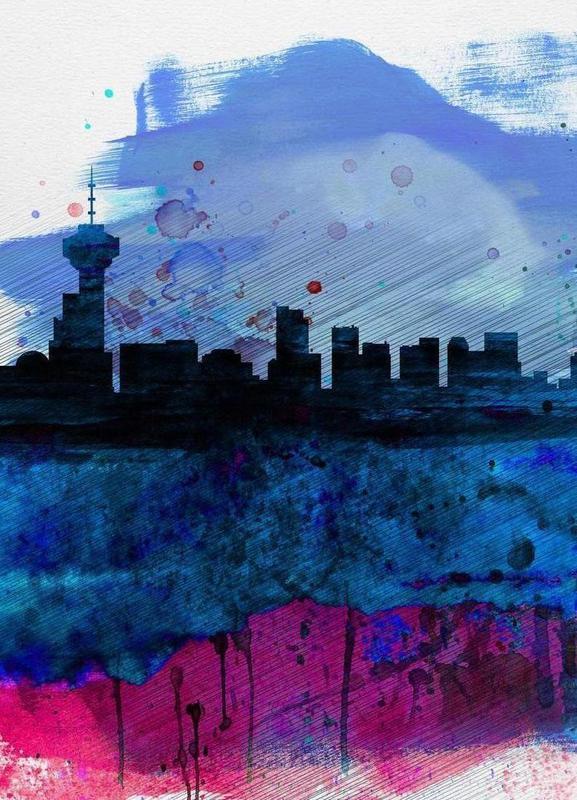 Vancouver Watercolor Skyline Canvas Print