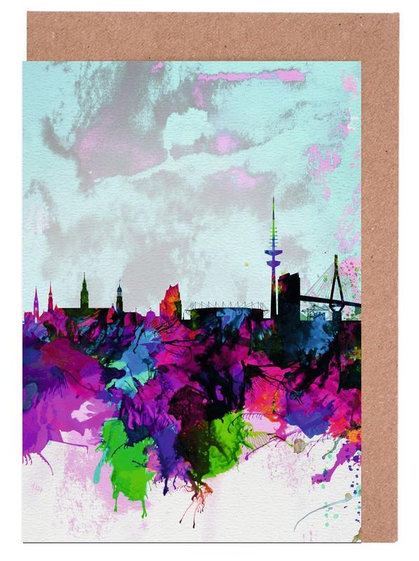 Hamburg Watercolor Skyline -Grußkarten-Set