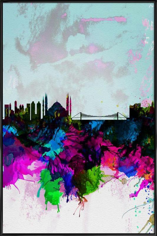 Istanbul Watercolor Skyline -Bild mit Kunststoffrahmen
