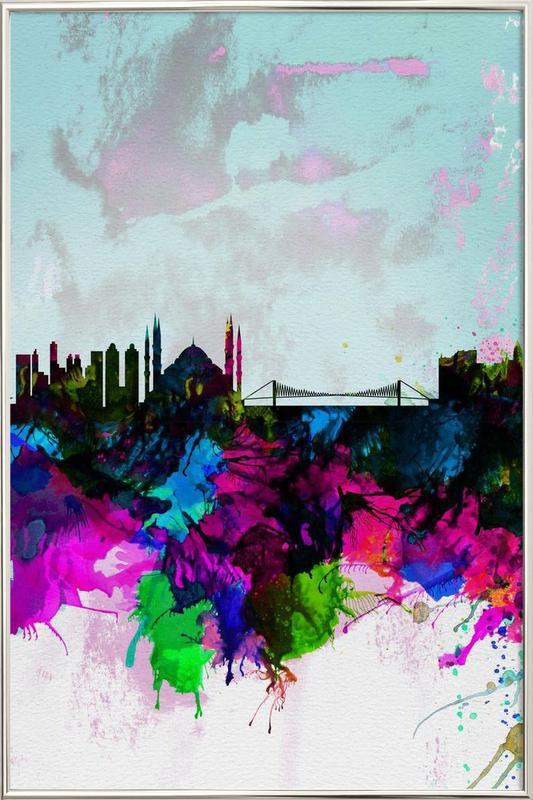 Istanbul Watercolor Skyline -Poster im Alurahmen
