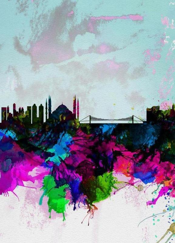 Istanbul Watercolor Skyline -Leinwandbild